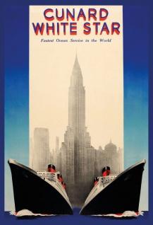 Blechschild Nostalgie Dampfschiffe vor Empire State Building Metallschild Wanddeko 20x30 cm tin sign