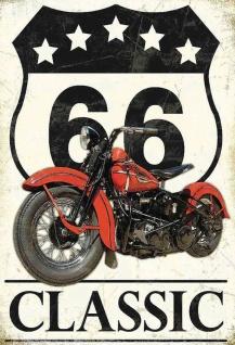 Route 66 Classic (Motorrad) Metallschild Wanddeko 20x30 cm tin sign