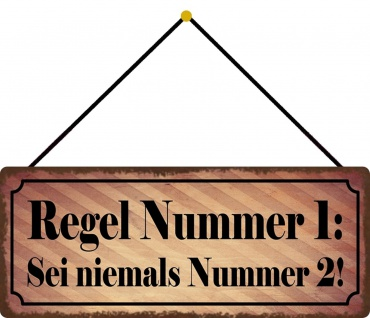 Schatzmix Blechschild Regel Nr 1 sei nie Nr 2 Metallschild Wanddeko 27x10 cm mit Kordel