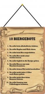 Blechschild die 10 Biergebote Metallschild 20x30 cm Deko tin sign mit Kordel