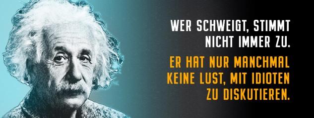 Blechschild Einstein: Wer schweigt, stimmt nicht immer zu Metallschild Wanddeko 27x10 cm tin sign
