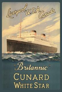 """Blechschild Nostalgie Steamship """" Britannic"""" Metallschild Wanddeko 20x30 cm tin sign"""
