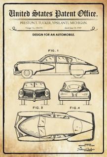 Blechschild Patent Entwurf für Kraftfahrzeug -Tucker Metallschild Wanddeko 20x30 cm tin sign