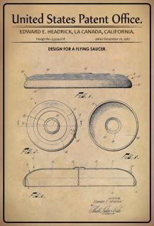 Blechschild Patent Entwurf fliegende Untertasse-Headrick Metallschild Wanddeko 20x30 cm tin sign