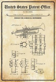 US Patent Office - Design for a Musical Instrument - Entwurf für einen Musikinstrument - Selmer - 1939 - Design No 2.181346 - Blechschild