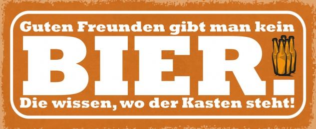 Blechschild Spruch Guten Freunden gibt man kein Bier Metallschild Wanddeko 27x10 cm tin sign