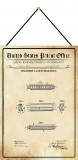Blechschild Patent Entwurf für eine Mundharmonika Metallschild 20 x 30 m.Kordel