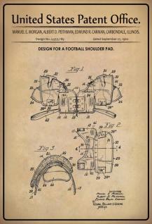 Blechschild Patent Entwurf Fussball-Schulterpolster Metallschild Wanddeko 20x30 cm tin sign