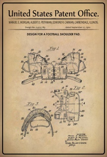 US Patent Office - Design for Football Shoulder Pad - Entwurf für Fußball-Schulterpolster - Morgan, Peithman, Carman - Design No 2.953789 - 1960 - Blechschild