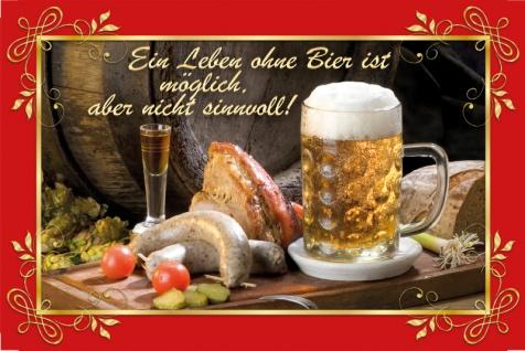 Blechschild Spruch Ein Leben ohne Bier... Metallschild Deko 20x30 tin sign