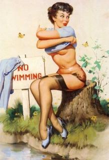 Nostalgie Pin up sexy Frau no swimming Blechschild 20x30cm