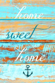 Blechschild Spruch home sweet home Anker Metallschild 20x30 cm Wanddeko tin sign