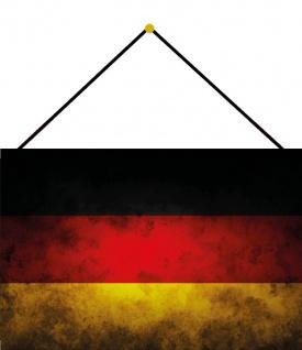 Blechschild Land Fahne Deutschland National Flagge Metallschild 20x30 mit Kordel