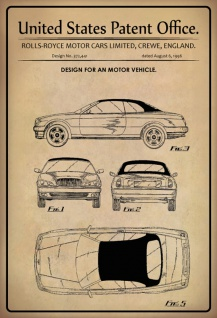 US Patent Office - Design for A Motor Vehicle - Entwurf für ein Kraftfahrzeug - Rolly-Royce Ltd, Crewe 1996 - Design No 372.441 - Blechschild