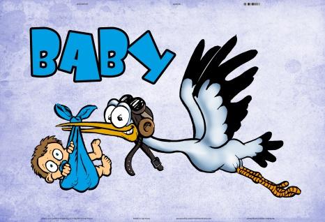 Blechschild Baby (mit Storch, in blau) Metallschild Wanddeko 20x30 tin sign