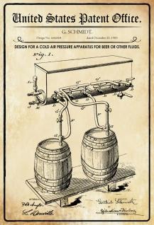 Blechschild Patent Entwurf für eine Bier- Zapanlage Metallschild Wanddeko 20x30 cm tin sign