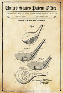 Blechschild Patent Entwurf für Golfclub-Kopf-Kearsley Metallschild Wanddeko 20x30 cm tin sign