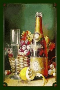Stilleben: Sektflasche, Zitrone, Trauben Blechschild 20x30 cm