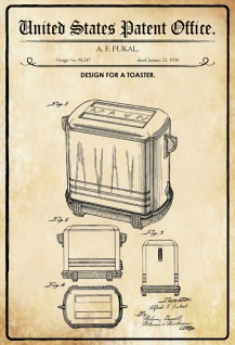 US Patent Office - Design for A Toaster - Entwurf für ein Toaster - Fukal, 1936 - Design No 98.247 - Blechschild