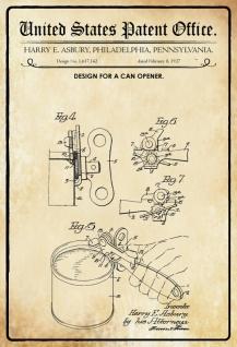Blechschild Patent Entwurf für ein Dosenöffner-Asbury Metallschild Wanddeko 20x30 cm tin sign