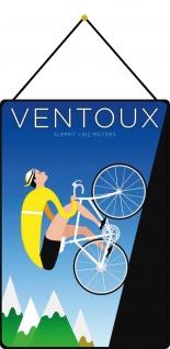 Blechschild Ventoux Summit 1.912 Meters (per Fahrrad) Deko 20x30 cm mit Kordel