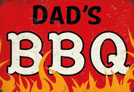 Blechschild Spruch Dad's BBQ rotes Metallschild Wanddeko 20x30 cm tin sign