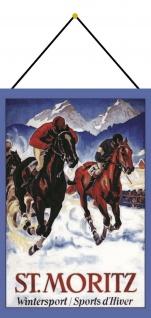Blechschild St Moritz Winter Sport Pferdrennen Ski Metallschild 20x30 mit Kordel