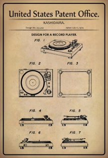 Blechschild Patent Entwurf für Plattenspieler Kasidaira Metallschild Wanddeko 20x30 cm tin sign
