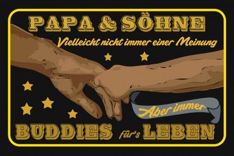 Blechschild Spruch Papa und Söhne Metallschild Wanddeko 20x30 cm tin sign