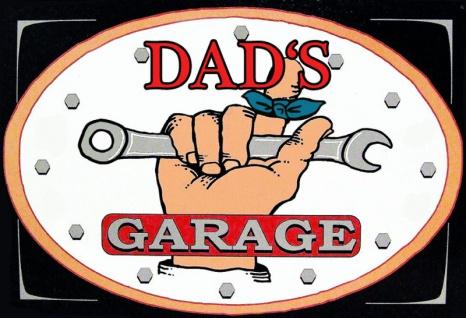 dads garage schwarz hintergrund blechschild