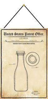 Blechschild Patent Entwurf für eine Glasflasche Metallschild 20 x 30 m.Kordel