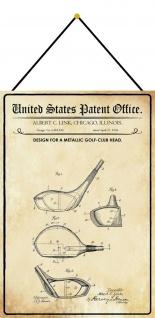 Blechschild Patent Entwurf für einen Golfschläger Metallschild 20 x 30 m.Kordel