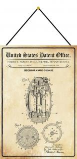 Blechschild Patent Entwurf für eine Handgranate Metallschild 20 x 30 m.Kordel