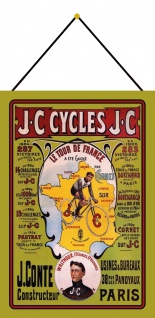 Blechschild Nostalgie JC Cycles Fahrrad Metallschild 20x30 Wanddeko mit Kordel