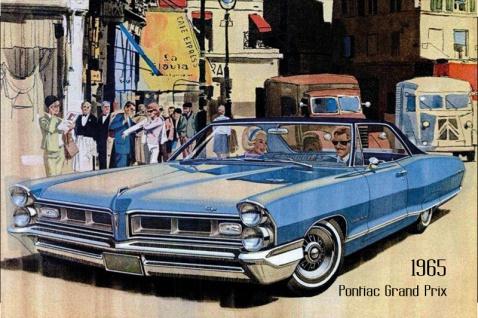 Pontiac Grand Prix 1965 Auto reklame blechschild, us, blau