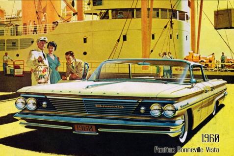 Pontiac Bonneville Vista 1960 Auto reklame blechschild, us, sportswagen
