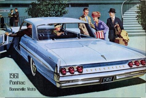 Pontiac Bonneville Vista 1961 Auto reklame blechschild, us, blau