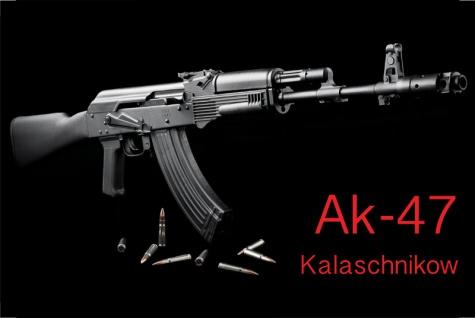 Blechschild Kalaschnikow AK47 & Patronen Metallschild Wanddeko 20x30cm tin sign