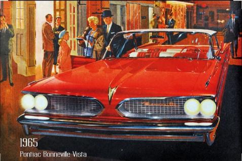 Pontiac Bonneville Vista 1965 Auto reklame blechschild, us, rot, sportswagen