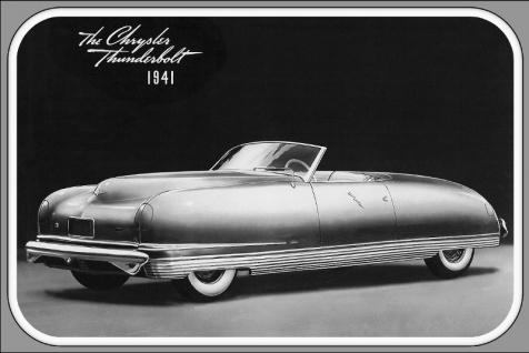1941 The Chrysler Thunderbolt auto reklame, retro, schwarz weiss bild, blechschild us
