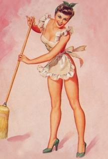 Nostalgie Pin up sexy Frau beim Kehren Blechschild 20x30 cm