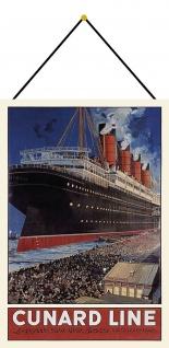 Blechschild Nostalgie Steamship Metallschild Deko 20x30 tin sign mit Kordel