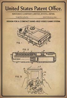 Blechschild Patent Entwurf Handvideospielsystem Metallschild Wanddeko 20x30 cm tin sign