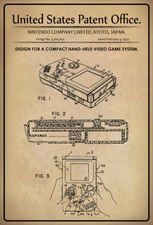 US Patent Office - Design for A Compact Hand-Held Video Game System - Entwurf für ein kompaktes Handvideospielsystem - Nintendo, Japan, 1993 - Design No 5.184.830 - Blechschild