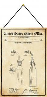 Blechschild Patent Entwurf für eine Kinderflasche Metallschild 20 x 30 m.Kordel