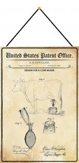 Blechschild Patent Entwurf für eine Melkmaschine Metallschild 20 x 30 m.Kordel