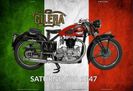 Gilerna Saturno 500 1947 Italien motorrad blechschild