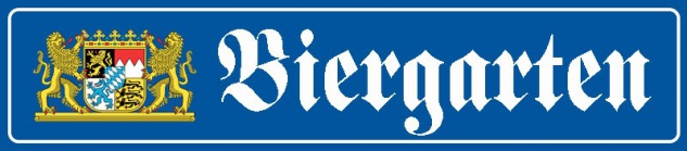 Biergarten strassenschild mit wappen blechschild 46x10cm