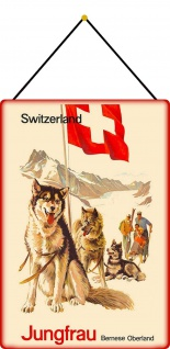 Blechschild Schweiz Jungfrau Bernese Oberland Metallschild 20x30 Deko mit Kordel