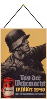 Blechschild Wehrmacht 17.3.1940 Soldat Metallschild 20x30 cm Wanddeko mit Kordel